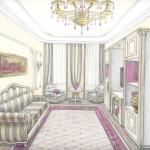 Гостиная в классическом стиле. Работа Ильиной Ирины.
