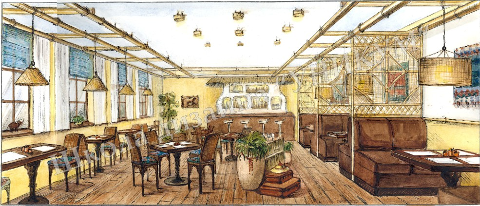 Эскиз кафе в этническом стиле. Ильина Ирина.